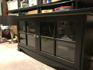 TV Stand / TV Cabinet Black with Glass doors