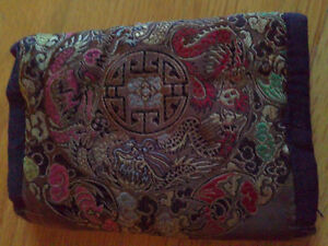 Women's fabric silk trifold wallet for sale London Ontario image 1