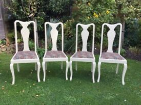 Set of 4 painted & upholstered Kitchen / Dining Chairs .REDUCED PRICE