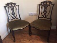 Pair of mahogany low vintage bedroom nursing chairs