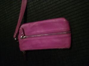 Danier leather pink wallet