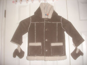 Baby Greendog Faux Suede Jacket Coat Faux Sherpa Lined 18M-24M