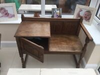 Solid wood telephone table with cupboard