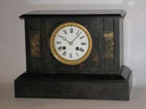 Antique French Mantel Clock with Porcelain Dial