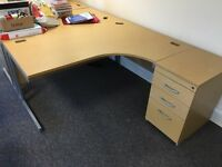 L Shaped Wood desk and drawers with chair