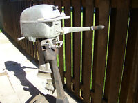 Vintage, 16 HP OMC Twin Cylinder, Two Stroke, Tiller Outboard. $