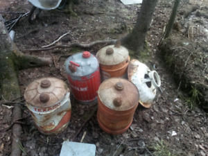 Old tin gas cans