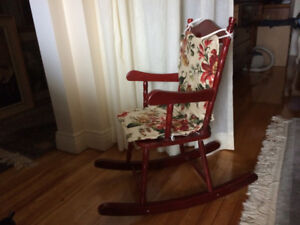 Child Size Rocking Chair Solid Maple Wood with Cushion.
