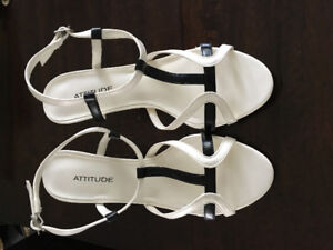 White and black ladies high heel shoes (never worn)