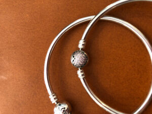 2 size small silver PANDORA BANGLES, one plain, one pave heart