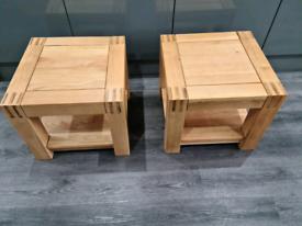 2 solid oak lamp tables RRP £179 each