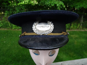 antique POLICE HAT inspector 1890s Badge Side Buttons TORONTO