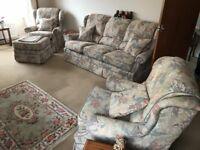 Three Piece Sofa with matching Footstool & Cushions
