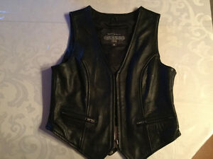 Black Leather Motorbike Vest
