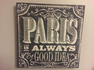 Paris Print, Lamp, Sculpture and Bedding