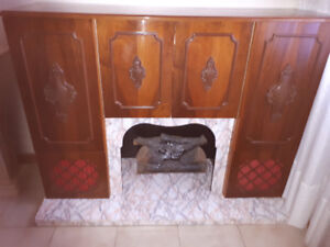 Vintage Stereo Cabinet with Electric Fireplace