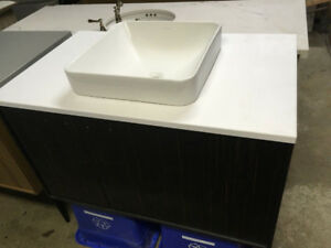 Jute Ebony Wall-Hung Vanity, Counter top, Sink