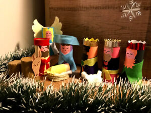 NATIVITY SET TOILET PAPER ROLL - craft - 9 pieces