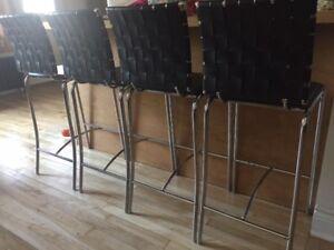 Tabourets (chaises) hauteur comptoir en cuir et métal chromé