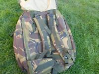 British Army camouflage large backpack Bergen rucksack fishing camping
