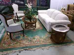 Elegant white couch, 3 walnut tables, 2 chairs. $1500