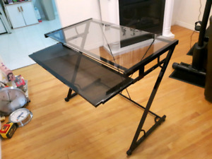 Glass computer table