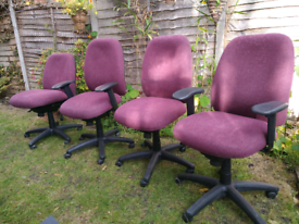 Two High Quality Maroon Red Fully Adjustable Office Chairs. £25 each