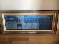Large modern art picture with attractive wooden frame