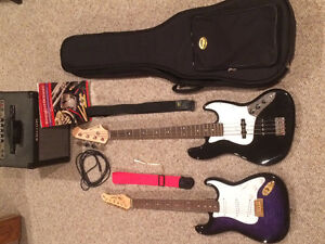 Electric Bass Guitar, Electric Guitar, and Amp for sale