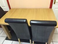 Extendable dining table + 6 high back chairs. (LIKE NEW)