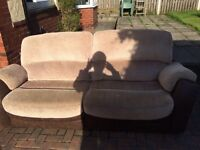 BARGAIN LARGE THREE SEATER LEATHER AND FABRIC SOFA DELIVERY IN LEEDS