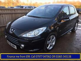 2007 Peugeot 307 1.6HDi ( 110bhp ) Sport +Full Black Leather+1 owner+ONLY 60k