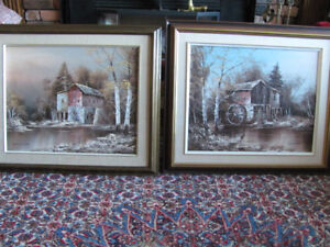 2 Caulfield original signed watermill paintings
