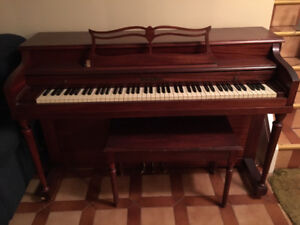 PIANO, UPRIGHT, WITH STORAGE BENCH FOR SALE - GOOD CONDITION!