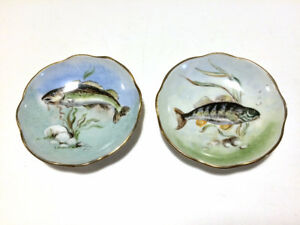 TWO hand painted UK china FISH pin ring trinket dishes