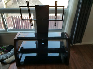 Solid Wood, Black GlassTV Stand with 50 Inch Plasma Pansonic HD