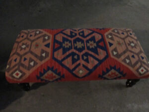 Bench Seat/Ottoman upholstered with a Navajo rug