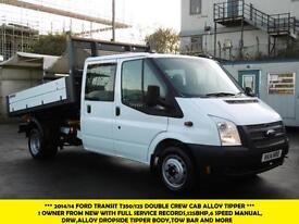 2014 FORD TRANSIT 350/125 DOUBLE CREW CAB ALLOY TIPPER 1 OWNER FROM NEW,6 SPEED,