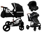 Cangaroo Gala Black/Leather 3-in-1 Combi Kinderwagen incl...
