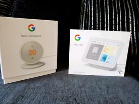 Google Nest Hub 2nd Gen and Nest Thermostat E