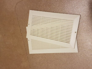 TWO 8X14 (6X12 OPENING) NEW WHITE PLASTIC COLDAIR RETURN GRILLS