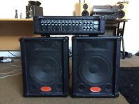 Stagg PA4/80 Powered Mixer PA and Speakers