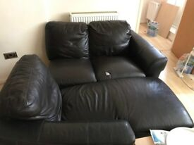 Leather sofa 2+1 seater with leg extension for relaxing - 3 years old