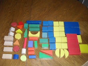 Lot of 55 Vintage Coloured Various Shaped Blocks - Toy