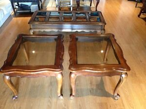 Solid Wood Coffee & End Tables - Smoked Bevelled Glass Cambridge Kitchener Area image 1