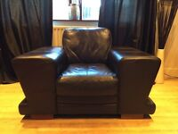 Dfs Chocolate Brown Leather 3 Seater Sofa And Armchair, Angled Armrests Wooden Feet Good Condition