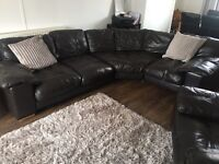 Full leather corner couch with two arm chairs