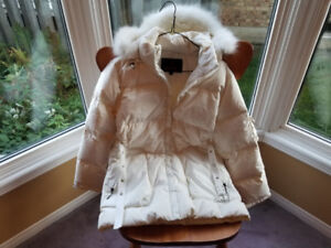 WHITE FAUX FUR TRIM LADIES DRESSY PARKA-SMALL/MED-NEVER WORN