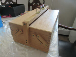 Wooden Art or Sewing Supply Box with carrying handl