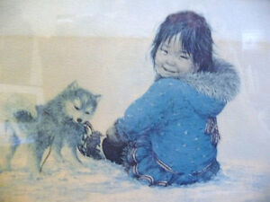 "Inuit Painting, Dorothy Francis ""Little Puglik's Playmate"" Litho Stratford Kitchener Area image 3"